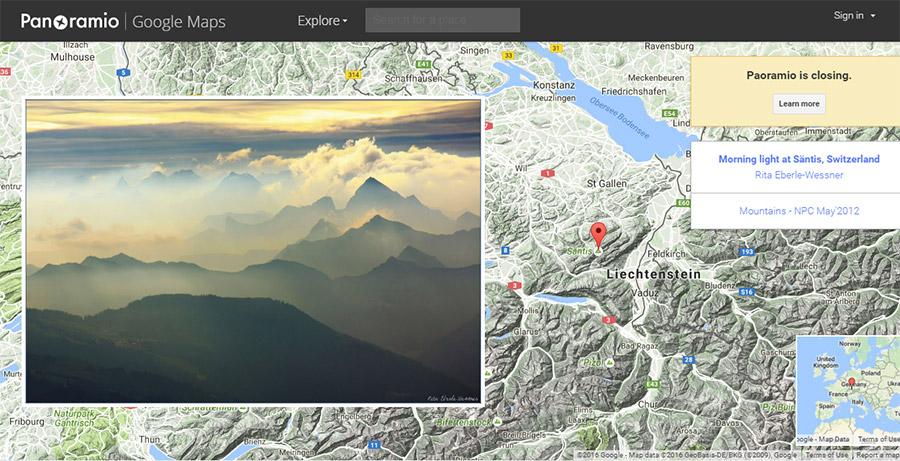 Google закрывает Panoramio с4ноября