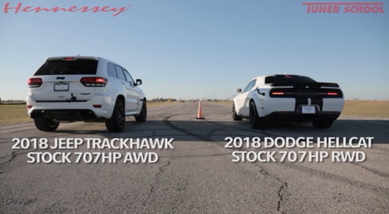 Jeep Grand Cherokee Trackhawk против Dodge Challenger Hellcat — Кто кого